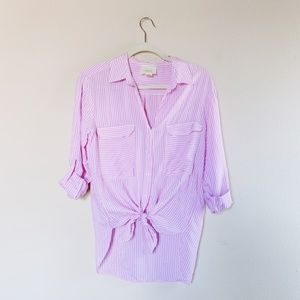 Anthropologie Maeve Stripe Button Up Blouse XS